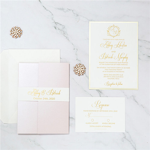 50 Romantic Pastel Pink Wedding Invitation Suite