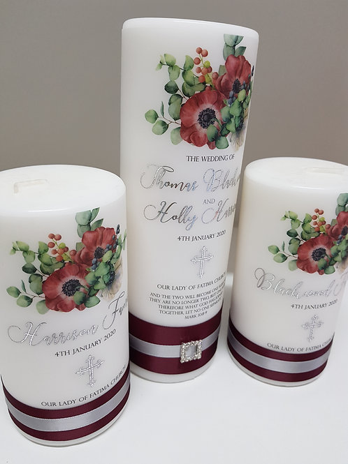 Leafy Berries Unity Candle Set, 1 x Main Candle  2 x Family Candles fo