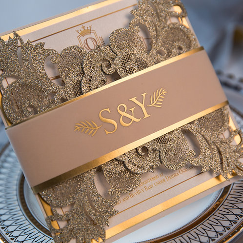 50 Stylish Gold Glitter Lace Pocket Wedding Invitation Sets