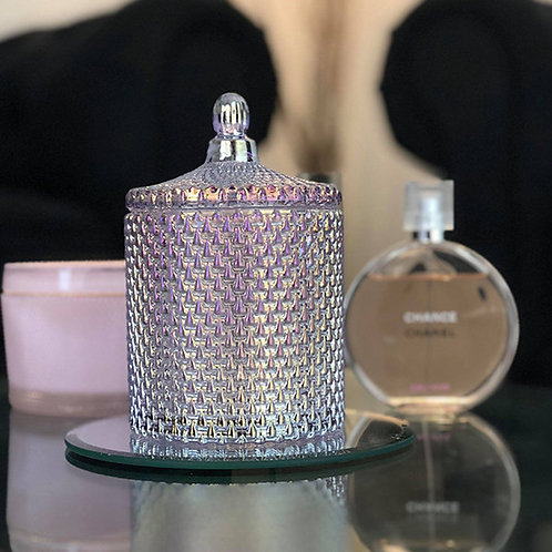 Stylish& Sophisticated Luxury Candle with decorative lid.