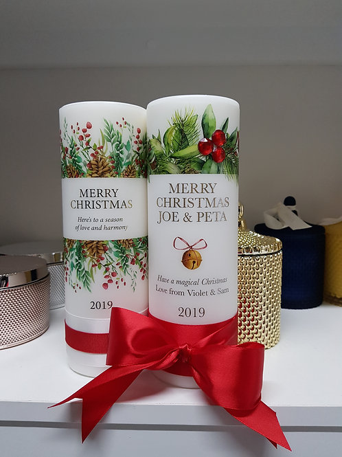 Personalised Christmas Pillar Candle, Family Christmas Candle