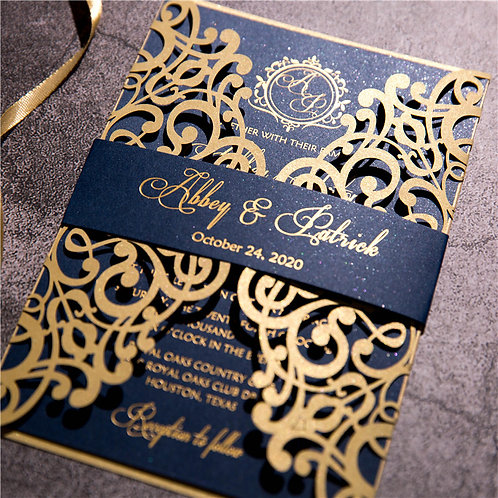 50 Navy & Gold Lace Wedding Invitation Suite