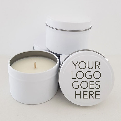 48 x 'YOUR LOGO CANDLES' Favours - 4oz Event Favours, Corporate Gift