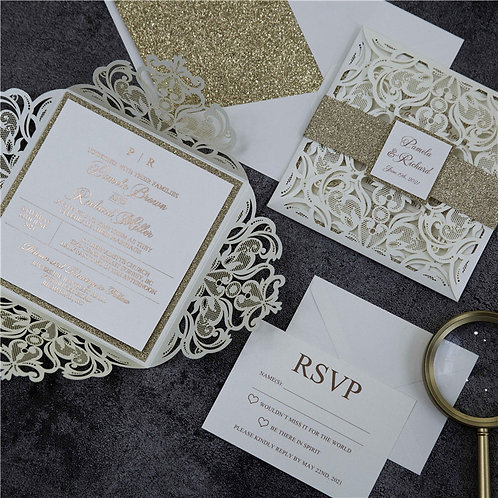 50 Ivory & Rose Gold Lace Wedding Invitation Suite