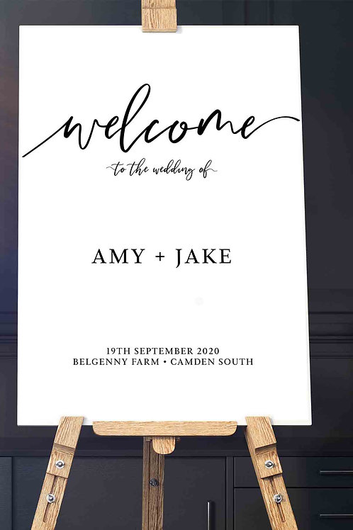 Black & White Modern Welcome Signage - Printed in either A1 or A0