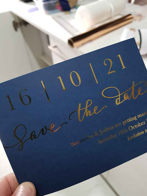 Save The Date - Navy & Gold Foil Cards