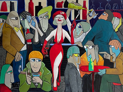 Lady in red holding court 150 x 200 cm