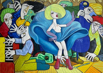 Jazz in the park on a windy day. Oil on canvas 130 x 180 cm