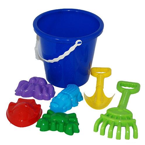 Купить игрушку Песочный набор №10 (ведро бол, совок, грабли, 4 формочки животные