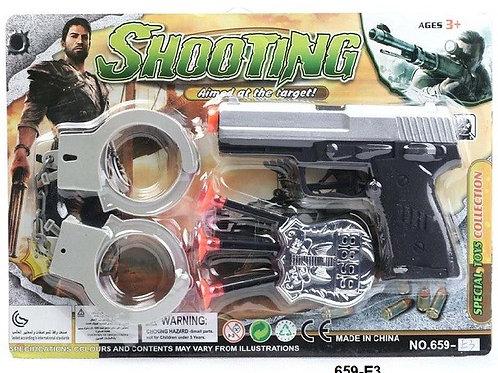 """Игровой набор """"Стрельба"""" пистолет + наручники 30х20см"""