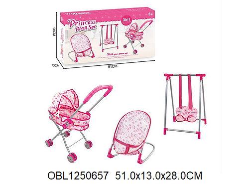 Купить игрушку набор коляска, качели и санки для куклы
