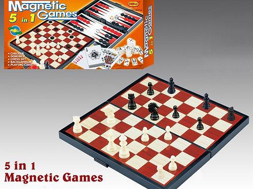Настольная игра Нарды, шашки, шахматы, карты, домино 5 в 1 магнитные в коробке