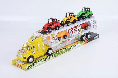 Игрушка детская:Инерц.трейлер в наборе, 3 цв.микс
