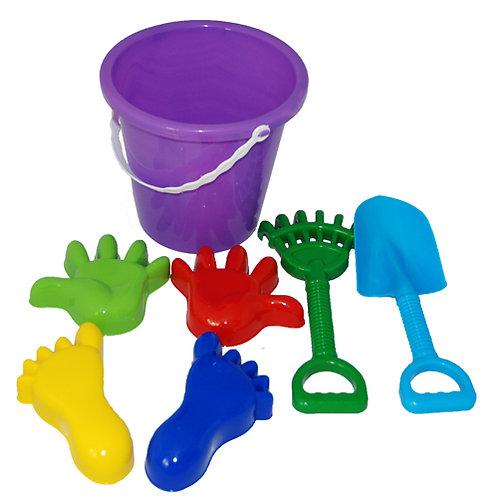 Купить игрушку Песочный набор №20 (ведро бол, совок, грабли, 4 формочки руки-ног