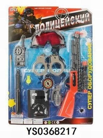 """Игровой набор """"Полиция"""" автомат с пулями, рация,наручники, дубинка  в блистере"""