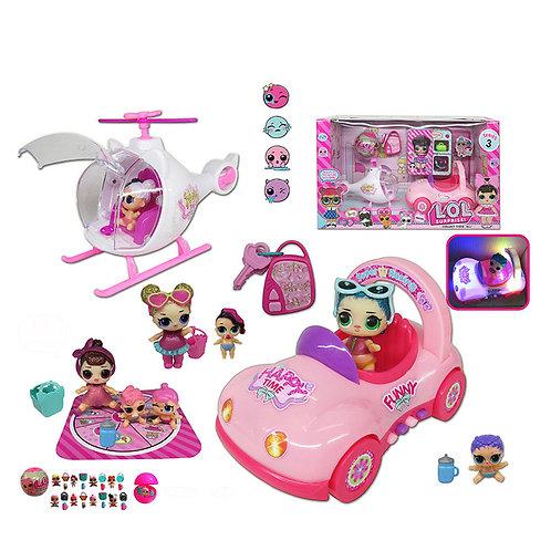 Игрушка детская:Куклы с машиной и вертолетом