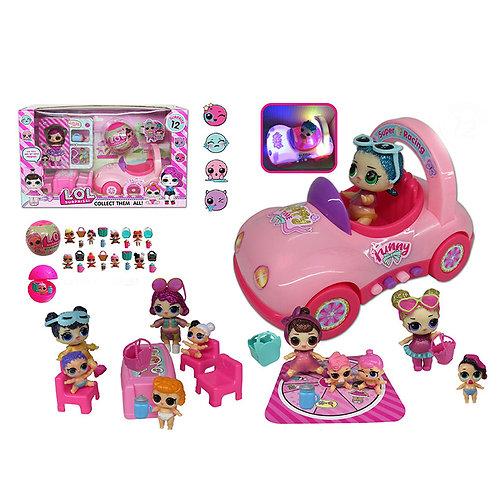 Игрушка детская:Куклы с набором и машина