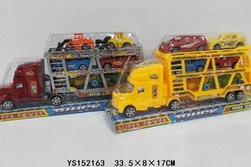 Автовоз двухярусный с машинками в блистере 33х8х17см
