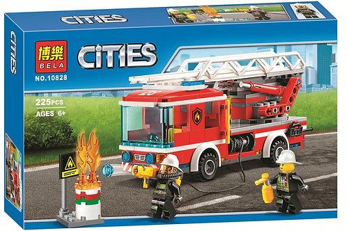 """Конструктор BELA 10828 Сити """"Пожарный автомобиль с лестницей"""" 225 деталей 33х21х"""