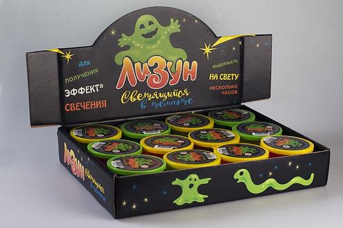 Купить игрушку лизун светящийся в темноте 120 г  12 шт/кор