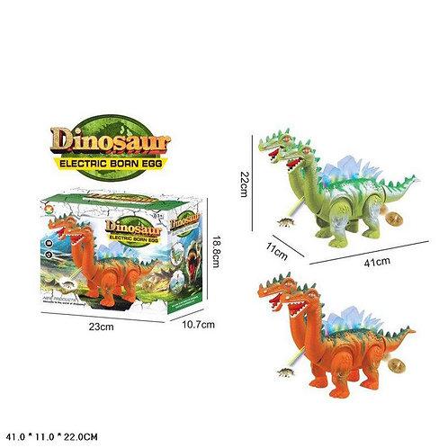 Игрушка детская:Динозавр на бат.(звук.свет,проект.,несет яйца)
