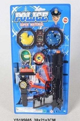 """Набор игровой  """"Полиция"""" с пистолетом, наручники, часы, компас в блистере 38х21х"""