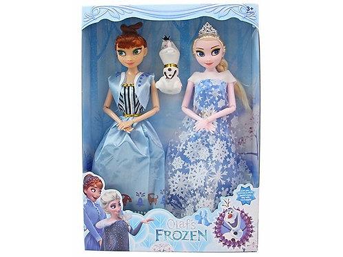 """Набор кукол """"Frozen"""" Эльза и Анна 28 см и снеговик в коробке 34х20см"""