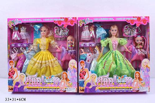 Игрушка детская:Кукла с платьями 30,5*32,5*6см