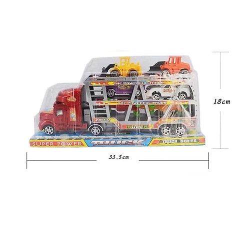 Игрушка детская:Трейлер инерция с машинками 2цв