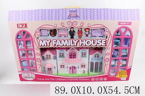 Игрушка детская:Дом для кукол с набором (дверной звонок,свет)