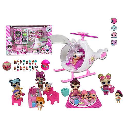 Игрушка детская:Куклы с набором и вертолет