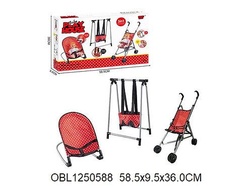 Купить игрушку набор коляска, качели и кресло для куклы