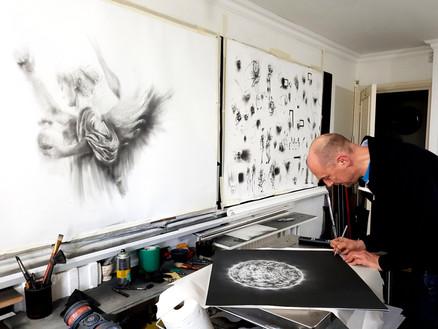 Ian Hodgson's Peace angel, in the artist's Studio