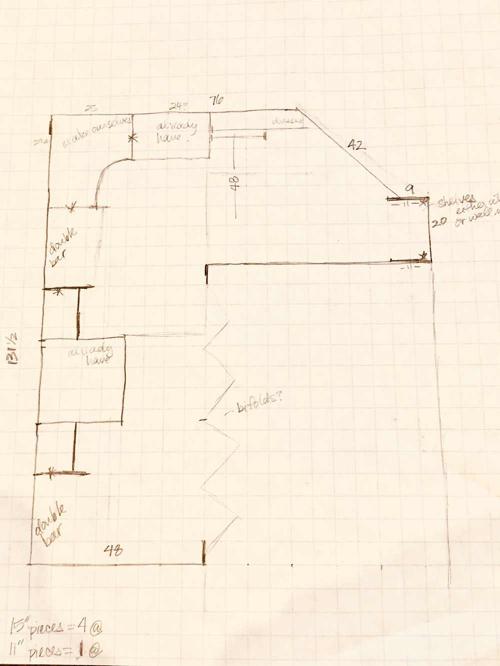 Drawn plans for closet