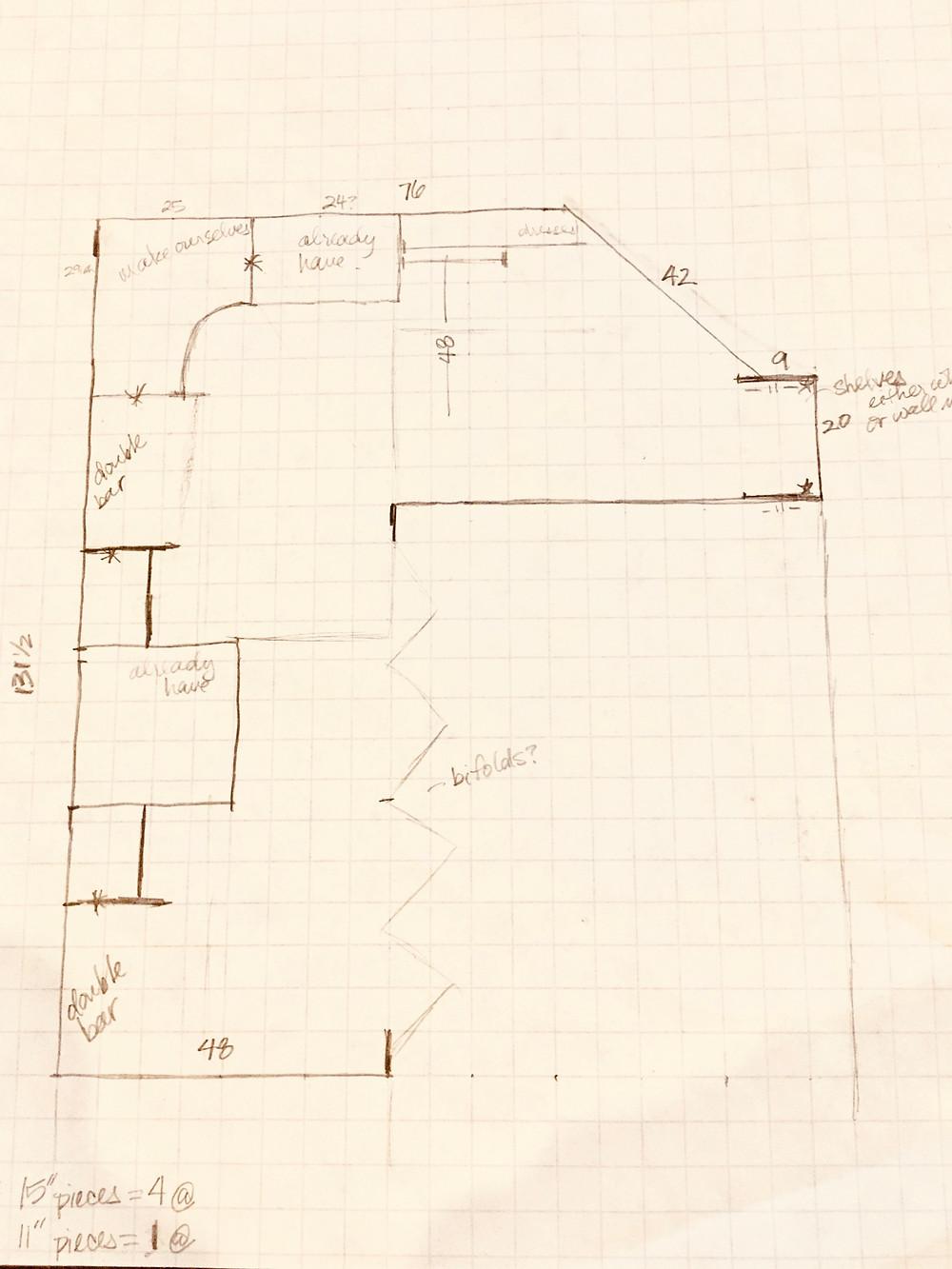 Drawn plans for closet