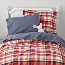 Land of Nod plaid bedding