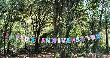 l'image montre une banderolle affichant joyeux anniversaire dans une forêt