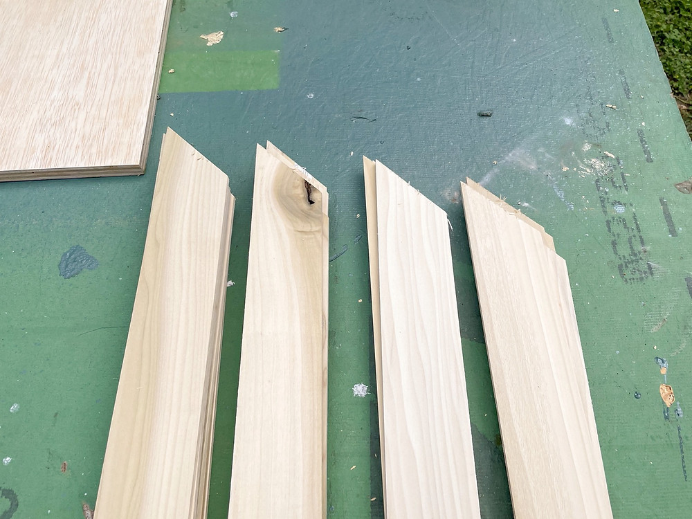 poplar boards with 45 degree angles