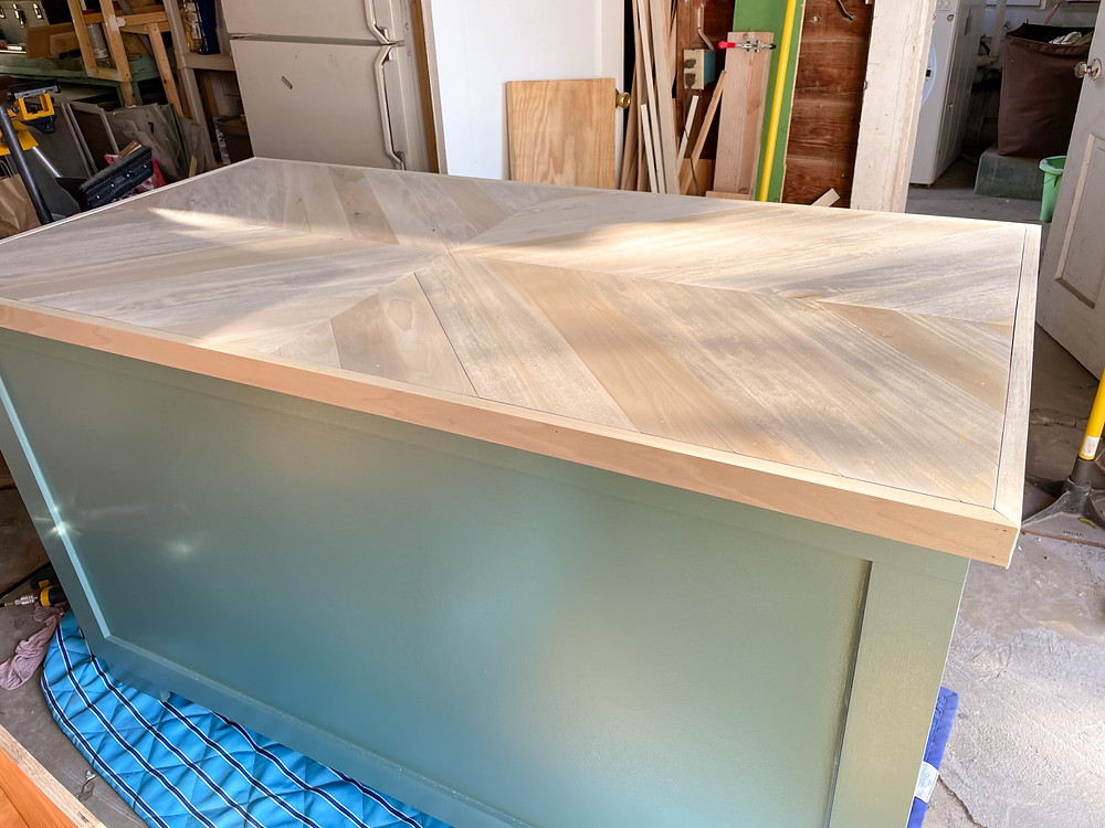 geometric diy butcher block countertop