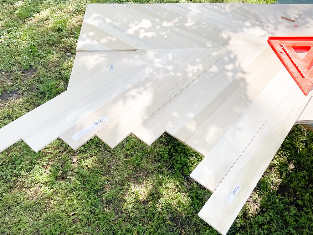 poplar boards laid out to measure