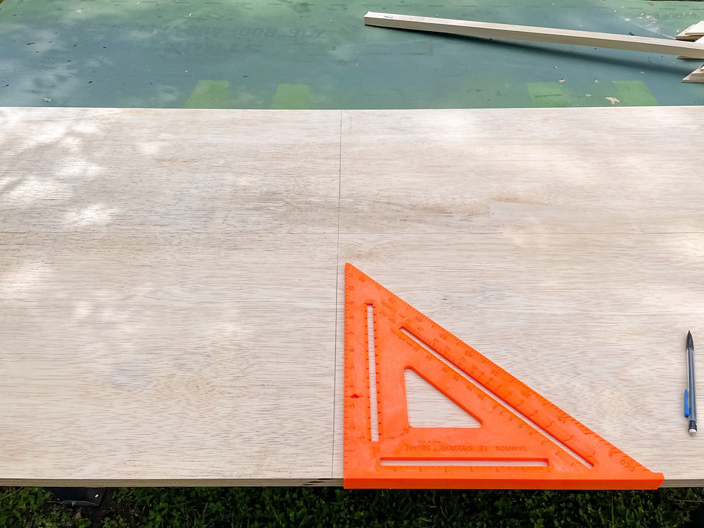 plywood countertop base with center marked