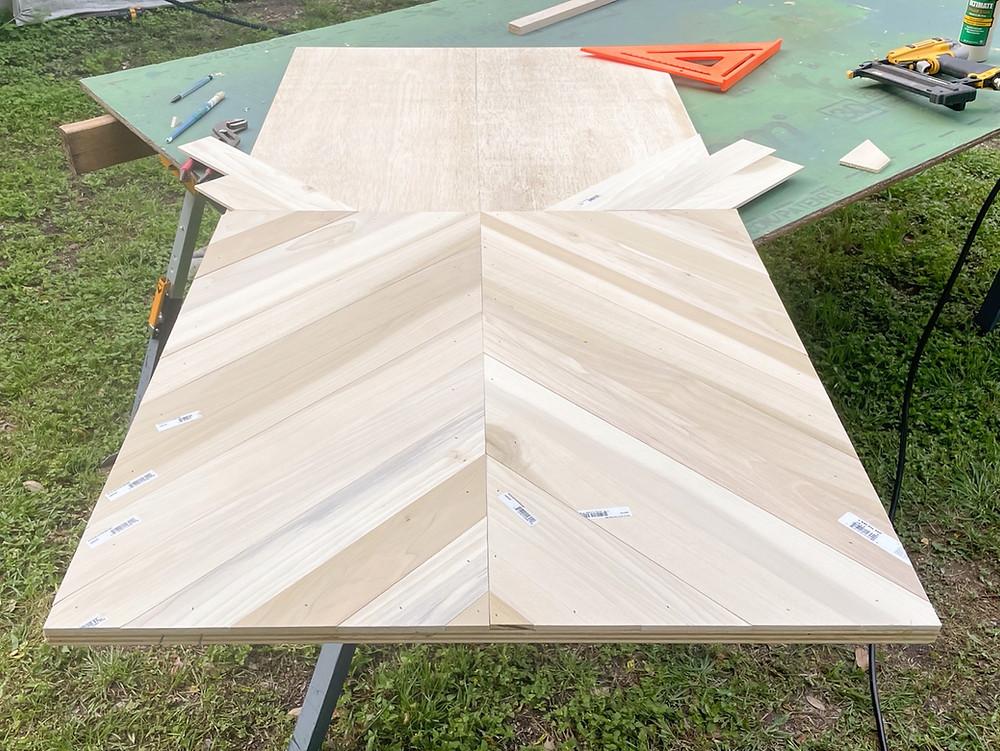geometric pattern on plywood countertop