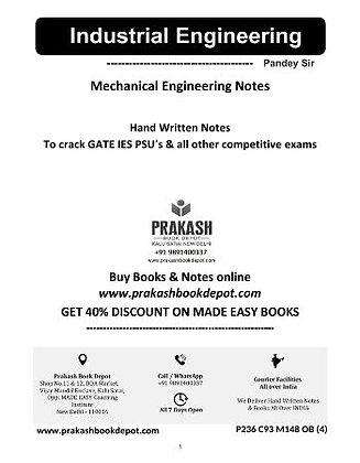 Mechanical Engineering Notes: Industrial Engineering