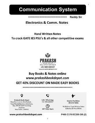 Electronics & Comm Notes: Communication System