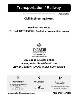 Civil Engineering Notes: Transportation / Railway