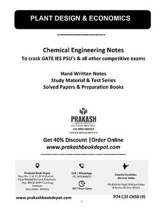 Chemical Engineering Notes: Plant Design & Economics