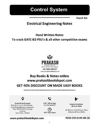 Electrical Engineering Notes: Control System