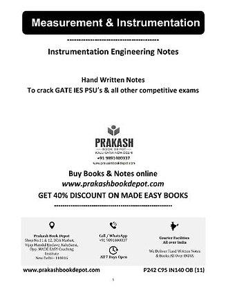 Instrumentation Engineering Notes:Measurement & Instrumentation