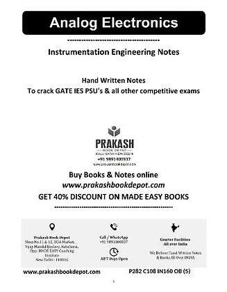Instrumentation Engineering Notes: Analog Electronics