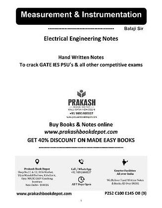 Electrical Engineering Notes: Measurement & Instrumentation